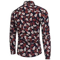 IYFBXl Camisa de algodón de tamaño asiático para Hombre - Cuello de Camisa de Lunares, Negro, L