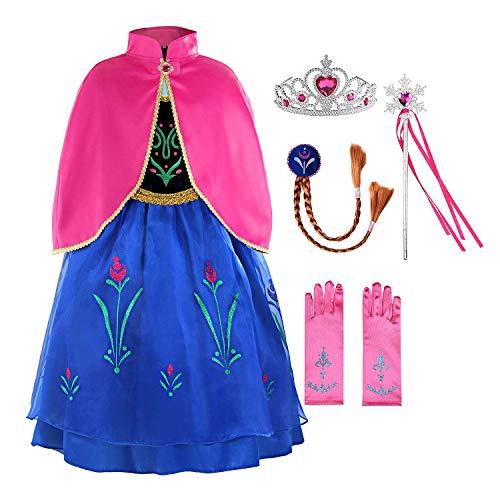 CQY Gefrorene Anzieh-Kleidung für kleine Mädchen ELSA Schneekönigin Anna Prinzessin Kostüme Geburtstagsparty Kostüm Schneewittchen 3-8 Jahre Halloween-Kostüm,S