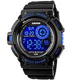 Herren Jugendliche Jungen Digital Sportuhr - Herren Jungen Kinder 50M Wasserdicht Multifunktion Lässige Reise Elektronisch Uhren mit 7 Farbe LED Beleuchtung Timer Wecker Stoppuhr Armbanduhr ( Blau )
