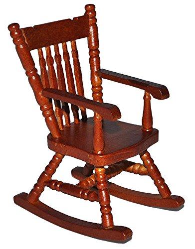 Möbel Schaukelstuhl (Schaukelstuhl Stuhl aus dunkel Holz - Maßstab 1:12 - Miniatur für Puppenstube Puppenhaus - Nostalgie Wohnzimmer Möbel Schaukelstühle)