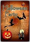 Halloween-Party Einladungskarten Set 12 Karten Einladung Kinder Jungen Mädchen mit Schloß Hexen Kürbis Vollmond Fledermaus Hexe auf Besen Erwachsene gruselig Sarg