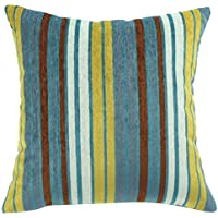 Motivo a strisce con zip per cuscino, in ciniglia, ChezMax-Fodera per cuscino, federa Pillowslip Decorative Pillowcase, blu, 16*24''WITH FILLER