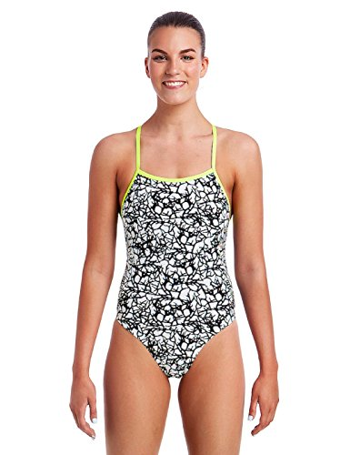 6a152192aa09 Funkita Ladies Bleached Coral Tie Me Tight One Piece Swimsuit (White/Black)  (