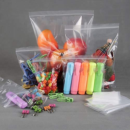 9cube Plastiktüten, mit Reißverschluss, wiederverschließbar, transparent, 100 Stück, farblos, 12.7cm x 12.7cm