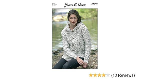 3d9b6e018 James C Brett Aran - JB045 Ladies Hooded Jacket Pattern 81-107 cm (32-42  in)  Amazon.co.uk  Kitchen   Home