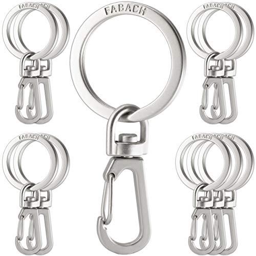 FABACH Karabiner Schlüsselanhänger mit drehbarem Schlüsselring - Kleine abnehmbare Karabinerhaken Schlüsselringe - Stabile Mini Schlüssel Karabiner Haken als Schlüsselhalter und zum Basteln -