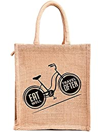 H&B Beautiful, Trendy & Stylish Beige Jute Handbag With Black Cycle Design / Quality Lunch Bag / Gift Bag / Jute...