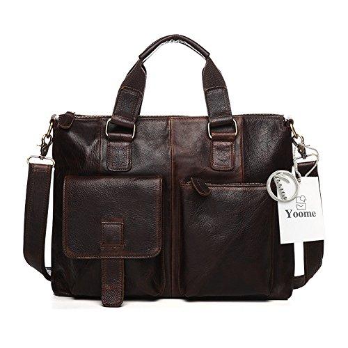 Yoome hommes Crazy Horse en cuir sac d'affaires de travail fourre-tout mallette pour ordinateur portable Messenger Bag sac à bandoulière