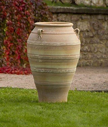 Kreta-Keramik, hochwertige große Terracotta Amphore 100 cm, frostbeständige handgefertigte Vase, mediterrane Deko für den Garten Terrasse Außenbereich, Olea