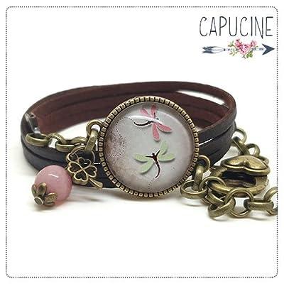 Bracelet libellules marron avec cabochon verre - Bracelet breloques bronze - Bracelet multi-rangs - L'ÉTÉ