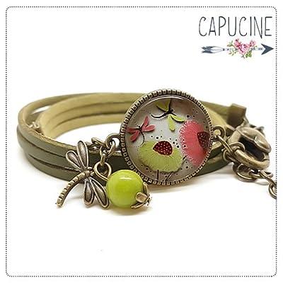 Bracelet libellules kaki avec cabochon verre - Bracelet breloques bronze - Bracelet multi-rangs - Bracelet L'ÉTÉ