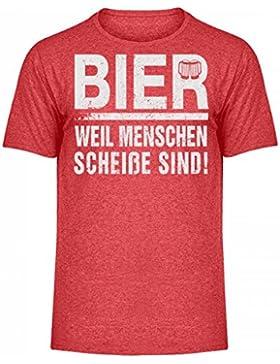 Hochwertiges Herren Melange Shirt - Bier weil Menschen scheiße sind!