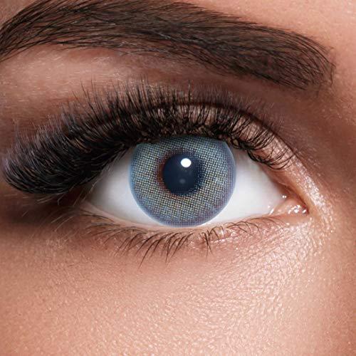s Blue + Behälter I Sehr stark deckende natürliche blaue Kontaktlinsen farbig I 1 Paar (2 Stück) I DIA 14.00 I ohne Stärke ()