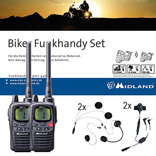 Midland G9 Pro Bikerset, C923.S1, 2 x Funkgeräte mit Headsets für Motorrad-Helme, wasserdichte Walkie Talkies mit Notfallknopf, sehr hohe Sendeleistung -