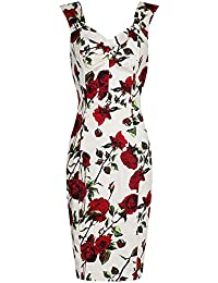 47464d16f927 Pretty Kitty Fashion 1940s Vintage Ivory red Rose Wiggle Dress