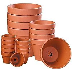 Pots en terre cuite, Ronds Ø intérieur 14 cm, 5 pièces