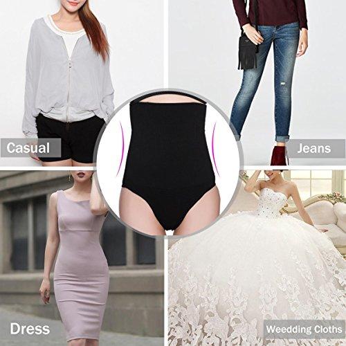 AMAGGIGO Damen figurenformend Miederslip mit Bauch-Weg-Effekt Miederpants String Mieder Butt Lifter Shaper Perfekt Shapewear Schwarz-A