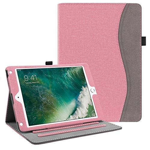Fintie Hülle für iPad 9.7 Zoll 2018 2017 / iPad Air 2 / iPad Air - [Eckenschutz] Multi-Winkel Betrachtung Folio Stand Schutzhülle Case mit Dokumentschlitze, Auto Wake/Sleep, Jeansoptik Rosa (Wifi 4g Ipad Mini)