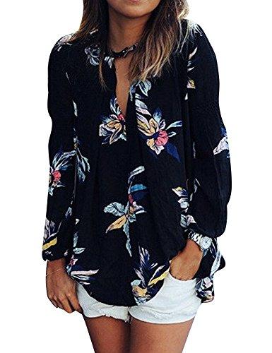 Minetom Damen Frühling Vintage V-Ausschnitt Blumen Strand Tunika Shirts Casual Chiffon Dünne Langarm Bluse Tops Schwarz DE 48 (Sheer V-neck Tunika)