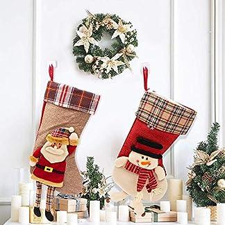 SPECOOL Calcetines de Navidad Set de Colgar 17″Calcetines de Navidad Regalos Calcetines de Navidad Santa Bolso de Backpacking de Regalo para Candy Snowman Adornos de Navidad Calcetines (1 Unit)