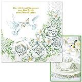 Servietten Romantik mit Rosenmotiv, einzeln geprägt mit Ihrem WUNSCHTEXT in GOLDSCHRIFT, ca. 33 x 33 cm