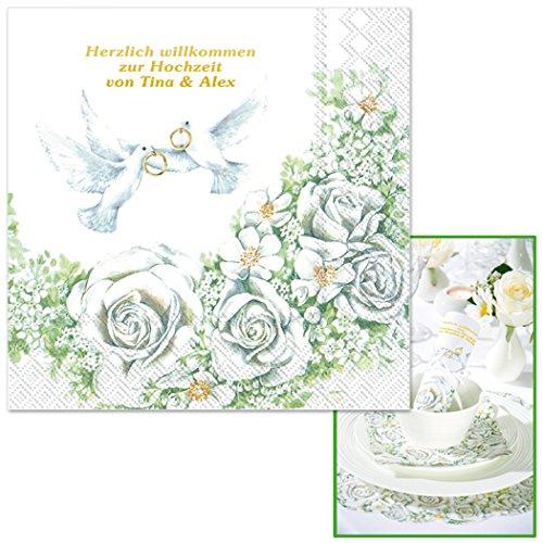 Servietten Romantik mit Rosenmotiv, einzeln geprägt mit Ihrem WUNSCHTEXT in GOLDSCHRIFT, ca. 33 x...
