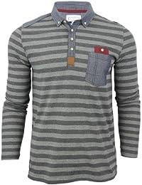 1dd3398c D-Code Mens Pete' Striped Polo Long Sleeve Denim Chambray Trim Jersey T-