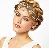 Aukmla Bohemia Headbands Jewelry 2 Tiers Head Chain with Pendant Headpieces for Women