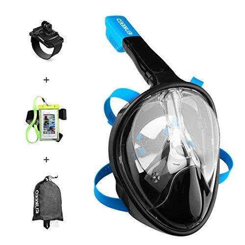 Enkeeo Tauchmaske, vollmaske, kurzsichtige Tauchmaske mit 180 Grad Blickfeld für Erwachsene und Kinder, Schwarz (S/ M) (Schwarz, S/ M)