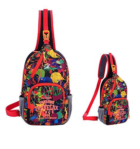 Jaimelavie Schleuder Tasche Chest Pack Umhängetasche für Outdoor Sportarten Reisen nylon fabric multied-colored Schwarz-1