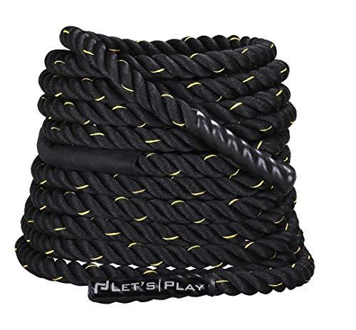 Letsplay FG-Battle Polyester Battle Rope,30, 40, 50 60 ft (Black) (60)