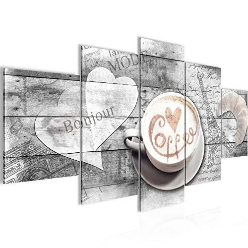 Bilder Kaffee Küche Wandbild 200 x 100 cm Vlies - Leinwand Bild XXL Format Wandbilder Wohnzimmer Wohnung Deko Kunstdrucke Grau 5 Teilig - MADE IN GERMANY - Fertig zum Aufhängen 012851c