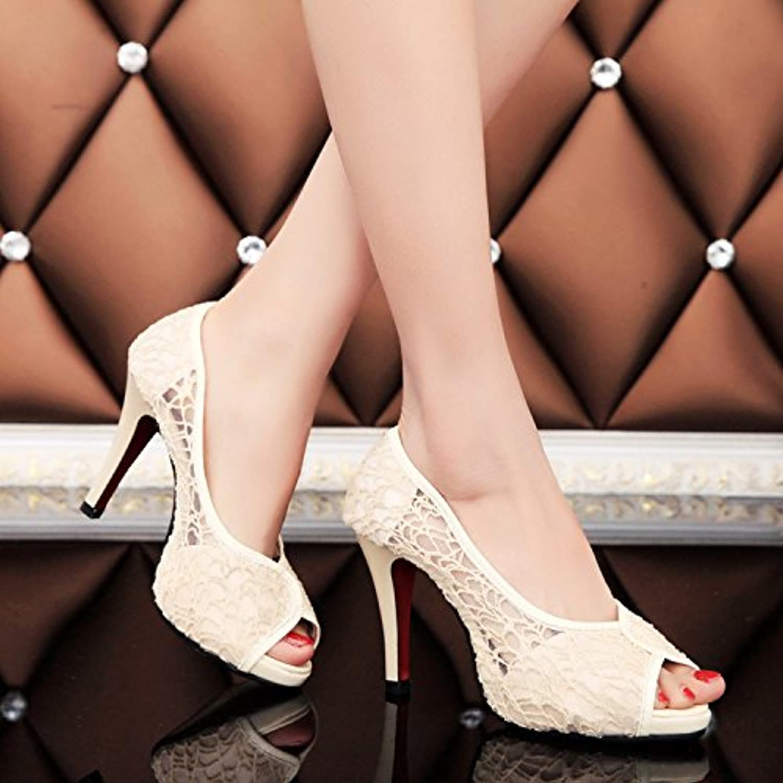 LGK&FA Zapatos De Verano De Tela Neta Super High Heels con Casual Sandalias Boca De Pescado 35 Amarillo