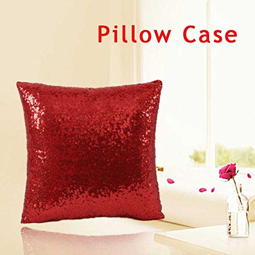 Indexp Glitter Sequins Solid Color Pillowcase Home Decor Sofa Cushion Cover (Red/45x45cm)