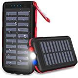 Power Bank Portable Phone Charger solar charge 25000mAh Huge Capacity Water-Resistant 3 Output Ports Battery Pack LED Flashlight & SOS Warning Lamp For Outdoor Activities, Smartphone,Tablet And More