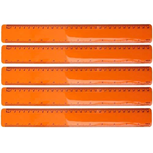 5er Set flexibles Lineal Kunststoff sechs verschiedene Farben Geometrie Messen Bürobedarf Länge 30 cm von notrash2003 (Orange)