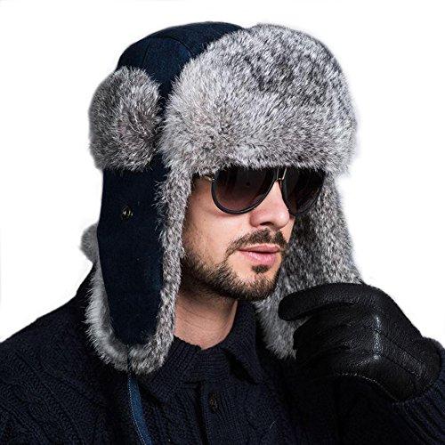 Ferand Ferand Pelzmütze Fellmütze mit Kaninchenpelz Unisex Russisch Bomber Hut, Blaue Jeans