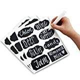 PrimeFolksCo. Chalkboard Labels Kit ~ 80x Reusable Stickers INCLUDING Liquid Chalk Marker Pen ~ 8 Different Trendy Designs ~ Perfect for Jam or Mason Jars, Beer, Wine, Storage and more