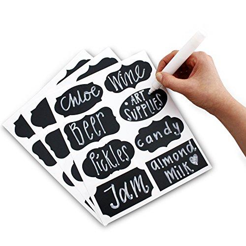 tiketten Aufkleber Set 48x Etiketten zum Aufkleben inklusive flüssigem Kreidemarker-Stift 8 verschiedene, angesagte Designs Perfekt für Marmeladengläser, Bier, Wein, Aufbewahrung und mehr ()
