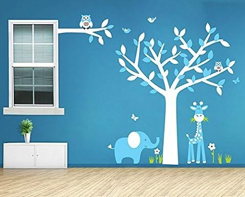 Yanqiao Schön Niedlich Giraffe Elefanten und Eulen auf Baum Großer Hintergrund Aufkleber für Wohnzimmer Wanddekoration Entfernbare Vinyl Abziehbild Kunst Zuhause Dekorieren Größe 160x130cm,