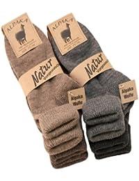 4 Paar Alpaka Socken mit Umschlag für Damen aus Alpaka mit Wolle