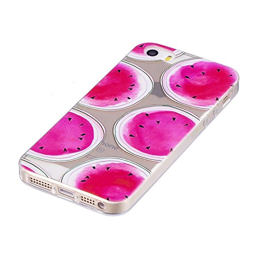 iPhone 5 Custodia Transparente, iPhone 5S Cover Silicone, JAWSEU Super Sottile Crystal Chiaro Custodia per iPhone 5/5S/SE Bumper Corpeture Case Creativo Disegno Antiurto Anti-scratch Shock-Absorption  Anguria