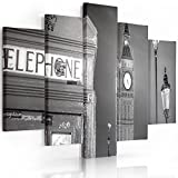 Feeby. Leinwandbild - 5 Teile - Bilder, Wand Bild, Wandbilder, Kunstdruck XXL, 5-Teilig, Typ A, 100x70 cm, STADT, LONDON, TELEFONZELLE, BIG BEN, SCHWARZ-WEIß