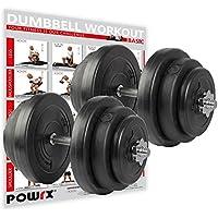 POWRX Kurzhanteln 2er Set Kunststoff 20kg / 30kg / 40kg – Hantelstangen, Gewichte und Sternverschlüsse gerändelt 30/31mm