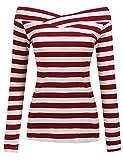 Zeagoo Damen Schulterfrei Langarmshirt Gestreiftes Shirt off Schulter Obertail T-Shirt Tops (EU 38/ M, Weinrot)