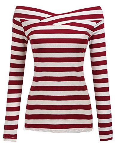 Zeagoo Damen Gestreiftes Shirt Schulterfrei Kurzarmshirt Off Shoulder Oberteil T-Shirt Streifen Tops (Weinrot_2, EU 42/ XL)