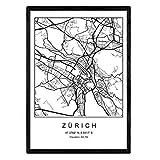 Nacnic Drucken Stadtplan Zürich skandinavischen Stil in