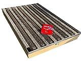 Bodenwanne mit Stahlzarge 75 x 50 mit Schuhabstreifer Casettenbürste und Schnurwasserwaage