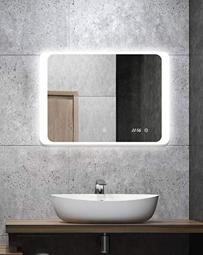 ALLDREI Badspiegel mit Beleuchtung AD25 Badezimmerspiegel mit Digitale Uhr, LED Licht, Touch Schalter - Waagerecht Montage 70 x 50 cm, Wasserdicth IP44, Weiß Lichtfarbe, Energieklasse A+