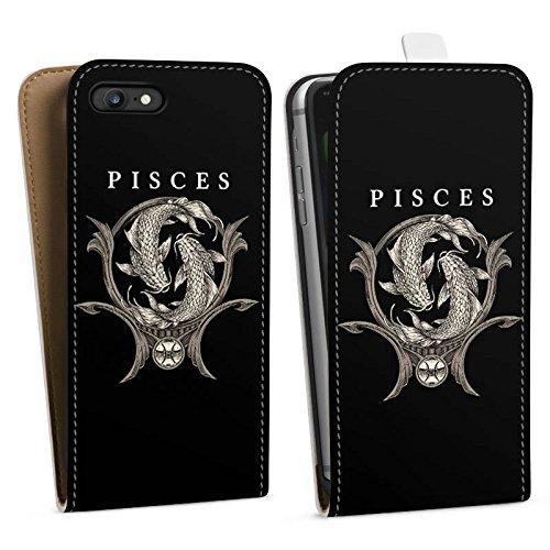 Apple iPhone X Silikon Hülle Case Schutzhülle Fische Sternzeichen Astrologie Downflip Tasche weiß